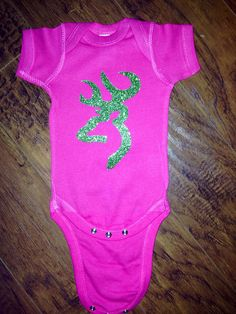 Hot pink and green glitter browning onesie  by Glamourtsandbows, $25.00