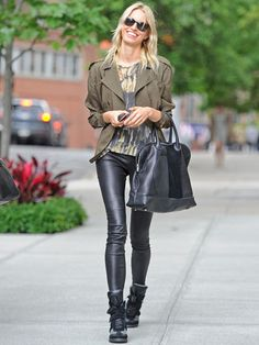 love the combo of the leather pants and military-style jacket.
