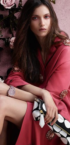 British model Matilda Lowther wearing Prorsum S/S14, The Petal bag and The Britain Gem Edition watch in the latest Burberry Spring/Summer 2014 campaign | The House of Beccaria