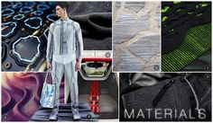 Orcim mens active trend story f/w 16/17, materials Materials, clockwise from top left:  Future motherboard  Compound Fleece  Controlled Textured Acid Dye  Double colored yarn  Waterproof softshell  Metal shape mesh  Armor fleece  Warp mesh