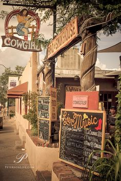 Cowgirls Restaurant, Santa Fe, New Mexico. Plenty of great food and live music. Highly recommended! www.swc.edu