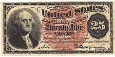 Civil War Era 25-cent fractional currency series of 1863