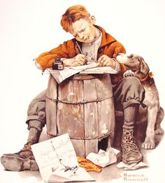 Little Boy Writing Letter | Norman Rockwell | Saturday Evening Post | January 17, 1920