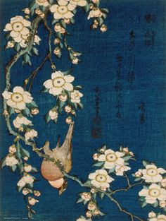 """Goldfinch and the cherry tree"" Hokusai"