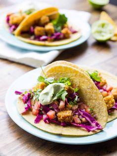 Tortilla Crusted Tempeh Tacos. #Flavorful #Vegan #VeganCooking #HighProtein #Delicious #Healthy