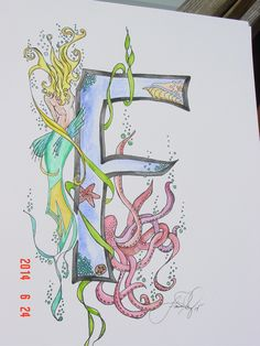 Stylized Letter F Watercolor with ink