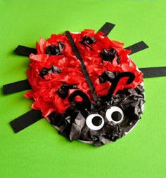 My preschooler is a big fan of using tissue paper in crafts. We really enjoyed the fun textures the tissue paper created in our Tissue Paper Bee Craft so I decided to Ladybug Crafts, Bee Crafts, Preschool Crafts, Lion Craft, Snail Craft, Craft Projects For Kids, Paper Crafts For Kids, Craft Ideas, Lady Bug