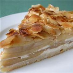 Cheese, Apple Bavarian Torte, This Torte Is Made In A Springform Pan. Cream Cheese, Almonds, And Apples Deck This To The Nines! Enjoy This Dessert With Your Loved Ones During The Holidays. German Desserts, Apple Desserts, Apple Recipes, No Bake Desserts, Just Desserts, Great Recipes, Delicious Desserts, Cake Recipes, Dessert Recipes