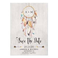 Boho Save The Dates With Dreamcatcher. Personalized Bohemian Style Save The Date Card