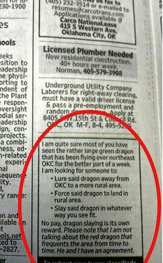 Perhaps we should go look for said dragon?