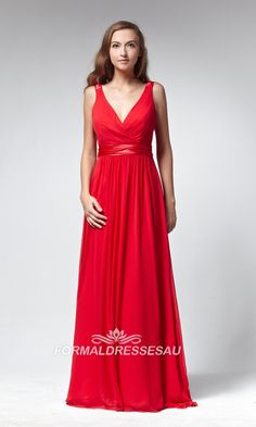 Red Floor Length Low V-neck A-Line Formal Dress PLCD013