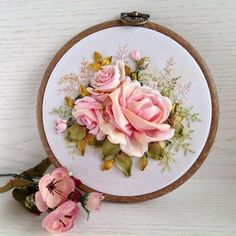 Items similar to Embroidery hoop art with Silk ribbon Pastel Pink Vintage roses For Mother's Day on Etsy Ribbon Flower Tutorial, Ribbon Embroidery Tutorial, Silk Ribbon Embroidery, Embroidery Hoop Art, Hand Embroidery Designs, Embroidery Patterns, Yarn Wall Art, Embroidery Boutique, Cotton Anniversary Gifts