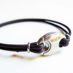 silver and leather jewelry | Mens Leather Bracelet with Sterling Silver Anchor