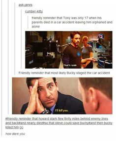 """*sobs emotionally* I never thought to think that when Howard Stark died in a """"car accident"""" that it was Bucky who caused it...but it makes complete sense oh goshhhhhh! why does it have make complete sense?!"""
