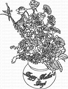 Adult Coloring Page - Mother's Day flowers - Printable Instant Download #40 by ColourSerenity on Etsy