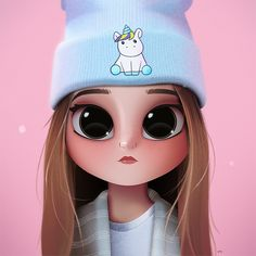 Cartoon, Portrait, Digital Art, Digital Drawing, Digital Painting, Character Design, Drawing, Big Eyes, Cute, Illustration, Art, Girl, Sasha Spielberg, Beanie, Unicorn, Pink