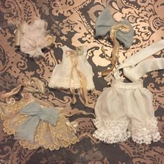 Vintage silk romantic Rococo style bloomer for Blythe doll.