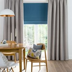 Curtains_Horizon Mist and Tetbury Wedgewood Roman Blind_Dining Room.jpg