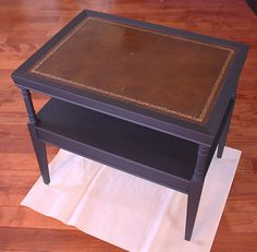 Delicieux Leather Top Table Makeover   In Progress   Chalk Paint Only