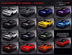 2018 Dodge Color Chart for the SRT DEMON. The 2018 Dodge Challenger SRT Demon will be available in 14 exterior colors: B5 Blue, Billet Silver, Destroyer Grey, F8 Green, Go Mango, Granite Crystal, Indigo Blue, Maximum Steel, Octane Red, Pitch Black, Plum Crazy, TorRed, White Knuckle and Yellow Jacket. All exterior colors are available with Satin Black hood, roof and decklid.