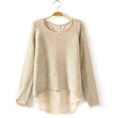 Scoop Collar Solid Color Sequin Chiffon Splicing Long Sleeve Blended Women's Sweater