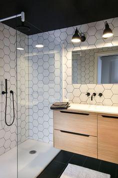 Love these white hexagon tiles amp; the black shower faucet Bathroom Cleaning, Basement Bathroom, Bathroom Small, Bathroom Modern, Bathroom Closet, Bathroom Black, Bathroom Cabinets, Bathroom Renovations, Modern Shower
