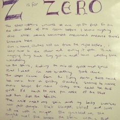 Z is for Zero, a short story