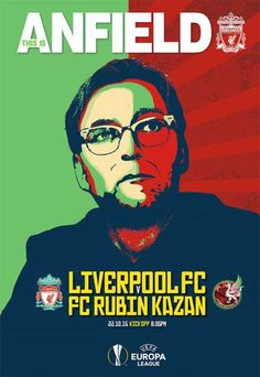 Liverpool have revealed a unique programme cover ahead of Thursday night's Europa League clash against Rubin Kazan – Jurgen Klopp's first home game in charge. Anfield Liverpool, Liverpool Football Club, This Is Anfield, Football Images, Football Icon, Sir Alex Ferguson, Football Program, Europa League, Manchester City