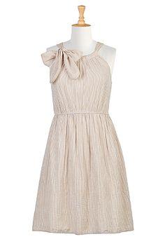 I <3 this Soft bow tie seersucker stripe dress from eShakti