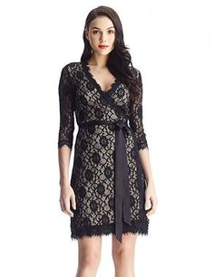 Romantic Lace Dress with Belt in Black