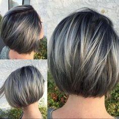 Precioso Gris Corto Bob corte de Pelo con Cabello lacio - Balayage cortes de pelo Corto para las Mujeres y las Niñas