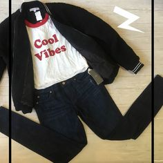 "Get into some ""Cool Vibes"" with this statement tee/bomber jacket combo! Available at our Lincoln Park location!  #platosclosetchitown#platosclosetlincolnpark#platoscloset#coolvibes#bomber#jacket#jackets#tees#tshirt#baseballtee#casual#vibes#instadaily#instacool#instagood#instagram#instapic#photooftheday#jeans#sevenforallmankind#chill#style#casualstyle#look#lookfresh#cool#awesome#trendy#like"