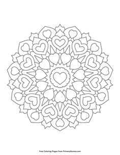 Free printable Valentine's Day Coloring Pages eBook for use in your classroom or home from PrimaryGames. Print and color this Heart Mandala coloring page.