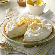 """Creamy Pineapple Pie Recipe -Creamy Pineapple Pie is a light and refreshing dessert that's quick to make and impressive to serve, promises Sharon Bickett of Chester, South Carolina. """"This is one of our favorite ways to complete a summer meal. No Bake Summer Desserts, Make Ahead Desserts, Easy Desserts, Delicious Desserts, Baking Desserts, Pineapple Pie Recipes, Pineapple Desserts, Pineapple Cream Pie Recipe, Pie Dessert"""