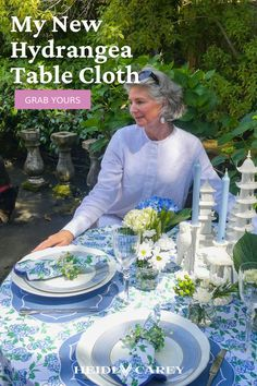 Elevate any table with my scalloped tablecloth. The hydrangea pattern is a custom block print, and elegantly accented by navy scalloping. This set makes a wonderful gift for any occasion. Table Setting Inspiration, Beautiful Table Settings, Elegant Table, Bed Styling, Inspirational Gifts, Table Linens, Home Accents, Timeless Fashion, Hydrangea
