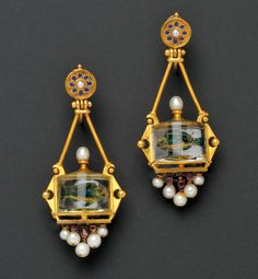 Antique 18kt Gold and Reverse-painted Crystal Fishbowl Earpendants, Estimate $1,000-1,500
