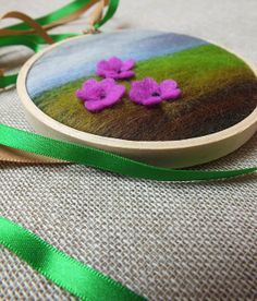 New Mini Miniature Felt Wall Hanging  Floral by TheMuckyPupGallery @Etsy