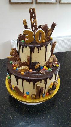 Two tier chocolate drip 30th birthday cake