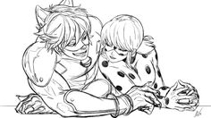Chat Noir tryin' to get some sneaky hand holding in, but Ladybug knows his game.