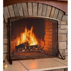 Arched Top Flat Guard Single Panel Steel Fireplace Screen