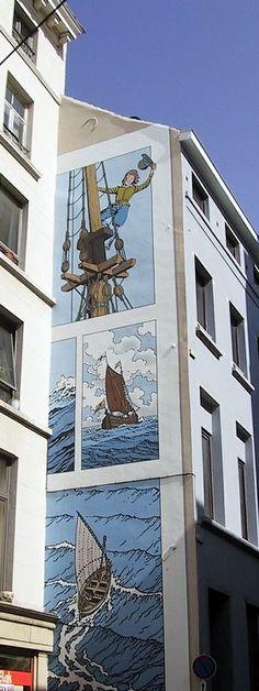 """Cori le Moussaillon / Bob De Moor Bd murale Bruxelles inaugurée en septembre 1998.rue des Fabriques 21 Sa superficie est d'environ 35 m². Réalisation de Georges Oreopoulos et David Vandegeerde de la société """"Art Mural""""."""