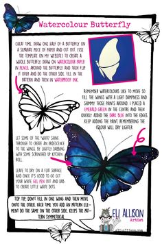 A simple break down of a watercolour butterfly. Loads more art tutorials on my blog. Check it out if you feel arty. Watercolour Butterfly, Watercolor And Ink, Time Continuum, Easy Art Projects, White Gel Pen, Draw Your, Light Painting, Simple Art, Cute Pattern