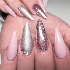 Pink Nails with Glitter Accents picture 1