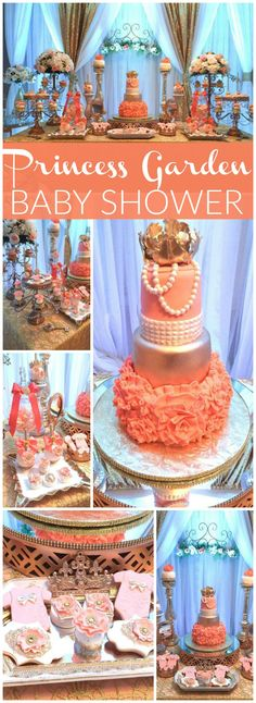 What a lovely coral and gold royal princess baby shower! See more party ideas at CatchMyParty.com!