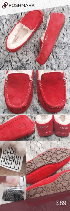 UGG Red Ansley Moccs Gorgeous brand new loafer moccasins. They come with original box & packaging that UGG provides. These have never been worn, guaranteed authentic.   •USE OFFER FEATURE TO DISCUSS PRICING  •YOU MAY ASK FOR A BUNDLE QUOTE  •NO OUTSIDE TRANSACTIONS •NO TRADES UGG Shoes Moccasins