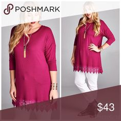 💖PLUS💖Danae Bottom Lace Tunic Show off your trend setting style when you wear this tunic featuring a lacy accent bottom, feminine and colorful magenta, and 3/4 sleeves that are comfy and fashionable. 95% Rayon 5% Spandex  Made in USA Tops Tunics