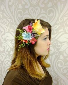 Rainbow Flower Hair Clip Flower Fascinator by RuthNoreDesigns