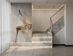 Interior Staircase, English Manor, Minimalist Interior, Oversized Mirror, New Homes, Stairs, Interior Design, Living Room, Furniture