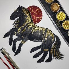 Sleipnir Sleipnir is the eight legged horse of the god Odin. Sleipnir is a son of Loki, and surprinsingly Loki isnt his father,… Animal Paintings, Animal Drawings, Art Drawings, Art Viking, Viking Woman, Loki Son, Tier Wolf, Buddha Tattoos, Nordic Tattoo