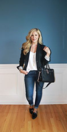 Outfitted411: Classics...black blazer, skinny jeans, black loafers, black satchel